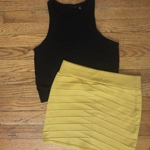 Dresses & Skirts - Yellow Textured Mini Skirt